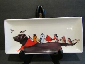 """Creative Co-Op BROWN LABRADOR Various Birds STONEWARE Plate WENDY RUSSELL 10.75"""""""