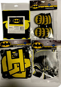BATMAN Happy Birthday Party Pack Glasses, mask, banner & Table cloth NIP