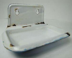 Old Enamel Soap Dish architectural hardware bathroom workshop trinket holder