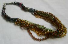 Bronze Green Brown Bead Multistrand Necklace boho hippie tribal