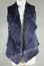 NEW 100% RABBIT FUR WATERFALL SHORT VEST NAVY Size S M L