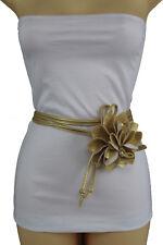 New Women Fashion Tie Belt Gold Faux Leather Waistband Flower Buckle Plus M L XL