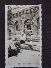 MAN ON PARK BENCH GETTING HIS SHOES SHINED BY YOUNG BOY Vintage 1940 PHOTO