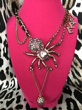 Betsey Johnson Enchanted Forest HUGE Pink Crystal Spider Acorn EEK! Necklace