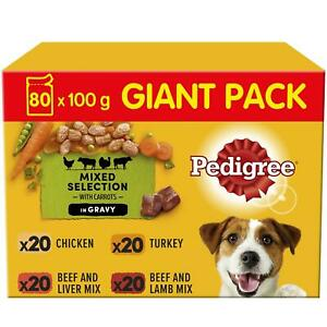 80 x 100g Pedigree Adult Wet Dog Food Pouches Mixed Selection in Gravy
