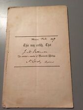 Vintage Ephemera Dartmouth College, 1857, J.W. Patterson, Laws, Admission