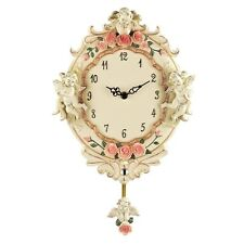 Floral Roses & Cherub Angels pendulum Antique Style Wall Clock Clocks NEW