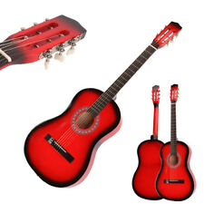 """New Beginner Willow 38"""" Plywood 19 frets Acoustic Guitar Red for Music Lover"""
