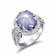 Natural Gray-Blue Star Sapphire 6.73 carats set in 14K White Gold Ring