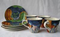 Sango Furio Art Deco Cafe Paris Coffee or Tea Cups Saucers Set of 4 Retired