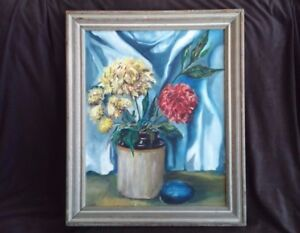 1950's Still Life Painting Brown Vase with Flowers Framed signed Greenfield