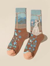 Beautiful rococo baroque art inspired damsel design cotton socks, wildflower