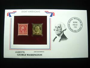 US FDC GEORGE WASHINGTON AMERICAN PRESIDENT 2c 1926 & 22K Gold Stamp Cover