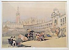 """Original 1837 David Roberts RA Framed Lithograph """"Bullfight in Sevilla"""""""