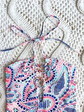 New American Eagle Aerie $54 One Piece Tropical Swimsuit Back Scoop sz Small A27