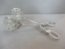 Antique 800 Silver Pastry Serving TONGS Ornate Rose Motif