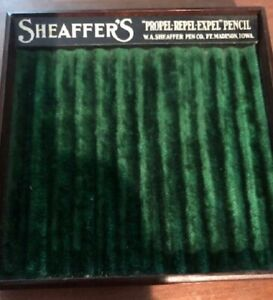 SheafferS - 1920's pencil tray - mahogany base with plush green lining - most ex