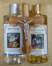 Anointing Oil frankincense, Myrrh,Spikenard+Holy Water 8.45oz, Olive Wood Cross