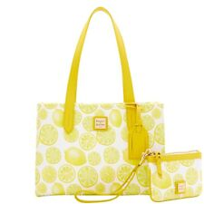Dooney & Bourke Limone Canvas Small Shopper & Medium Wristlet NWT