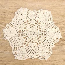 New listing 1/4Pcs 22cm Vintage Handmade Crocheted Lace Doilies Flower Placemat Cup Mat
