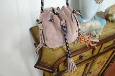 ZARA tan brown/pink small leather TASSEL hobo FRINGED DRAWSTRING handbag-nwot