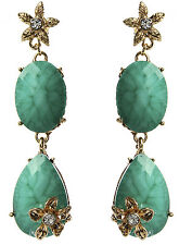 NWT Amrita Singh Real Housewives Turquoise Villandry Floral Earrings ERC 9953