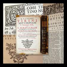 BIBLE COMMENTAIRE - Tirinus: S. SCRIPTURAM COMMENTARIUS 2 volumes 1724 Venezia
