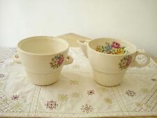Vintage 1940's Salem China Victory PETIT POINT Sugar Bowl & Creamer Sweet !!