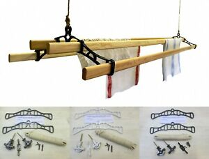 4 LATH Victorian kitchen ceiling pulley Clothes horse airer dryer rack laundry