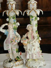COPPIA di Meissen stile CANDELE titolare CENTROTAVOLA Figurina dipinti a mano