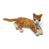 Brown ceramic cat figurine dollhouse animal vintage Tiny miniature pottery C11
