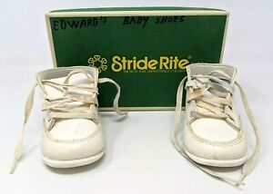 VTG Stride Rite Baby Child Doll White Sz 4E High Top Lace Up Walking Shoes CD21