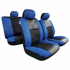 New Embroidery GT Racing Airflow Mesh w/t Leatherette Blue Black Car Seat Covers