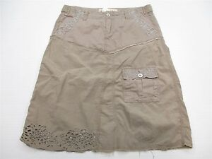 EXPRESS Women's Size S Casual Knee Length Cut Out Cotton Canvas Skirt
