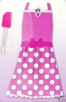 Disney Minnie Mouse Pink Apron Dress Up Play Set 2pc Polka Dots New