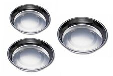 Puppy Pan Feeders Wide Flat Stainless Steel Dishes Dog Litter Saucer Style Bowls