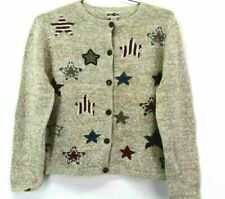 Winona Knits Women's Large Button Front Stars & Stripes Long Sleeve Knit Sweater