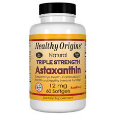 Astaxanthin, 12mg x 60 Softgels, Tendonitis, Liver Spots - Healthy Origins