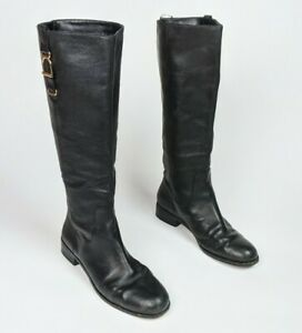 BANANA REPUBLIC Black Pebbled Leather Harness Buckle Riding Boots Pull On sz.7M