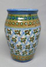 (G215) Bunzlauer Keramik Vase, handbemalt, handgetöpfert, ca.13,5 cm hoch
