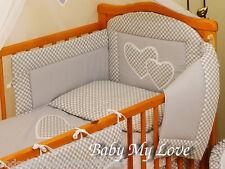 3pcs BABY  BEDDING SET/BUMPER/DUVET COVER/PILLOWCASE to fit COT 120 x 60cm GREY