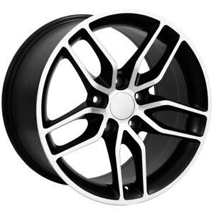 "Replica 160BM C7 Corvette 17x8.5 5x4.75"" +54mm Black/Machined Wheel Rim 17"" Inch"