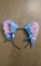 Baby pink and blue fluffy soft cat kitten gear kawaii cute ears, gloves and tail
