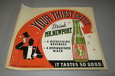 Original Old Vintage 1941 - MR. NEWPORT SODA - DECAL / Advertising SIGN
