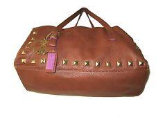 Christian Audigier Brown Leather studded Satchel bag