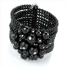 Gothic Black Beads Flower Cluster Corsage Prom Statement Oasis Wide Bangle Cuff