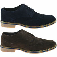 MENS ROAMERS SUEDE LEATHER BROGUE SHOES SIZE UK 6 - 12 CASUAL LACE UP M617 KD