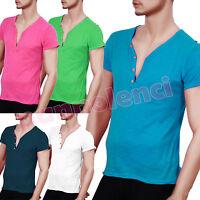 T-shirt maglia maglietta UOMO cotone profondo scollo a V bottoni serafino ND8808