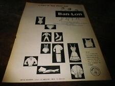 BAN LON - A L'ABRI DE TOUS SOUCIS - Publicité de presse / Press advert !!! 1958