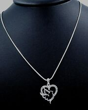 "Lovely New Dove Bird Heart Austrian Crystal Pendant Charm 17"" Necklace Bridal"